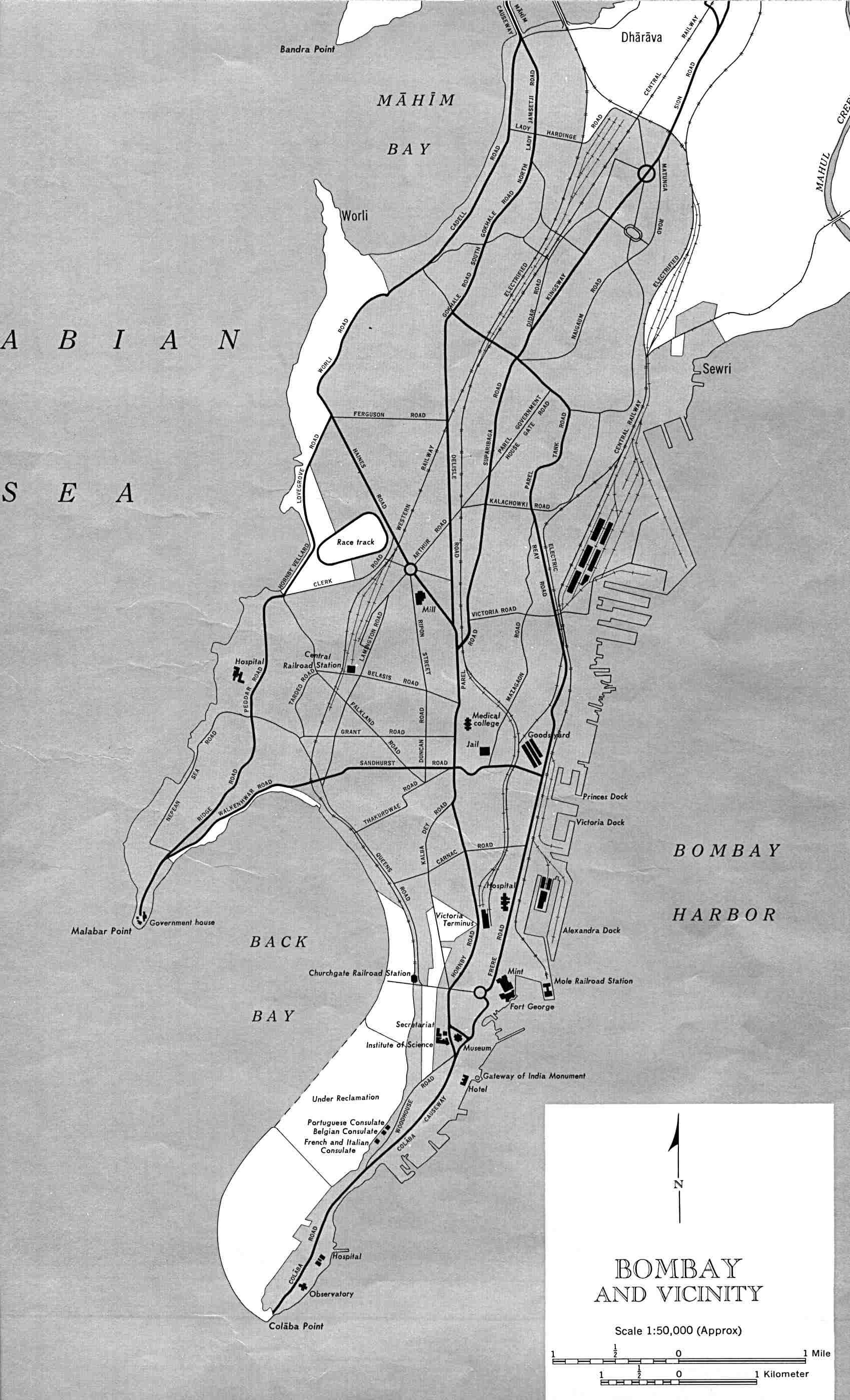 Bombay-india-historical-map-1954-City-Plan