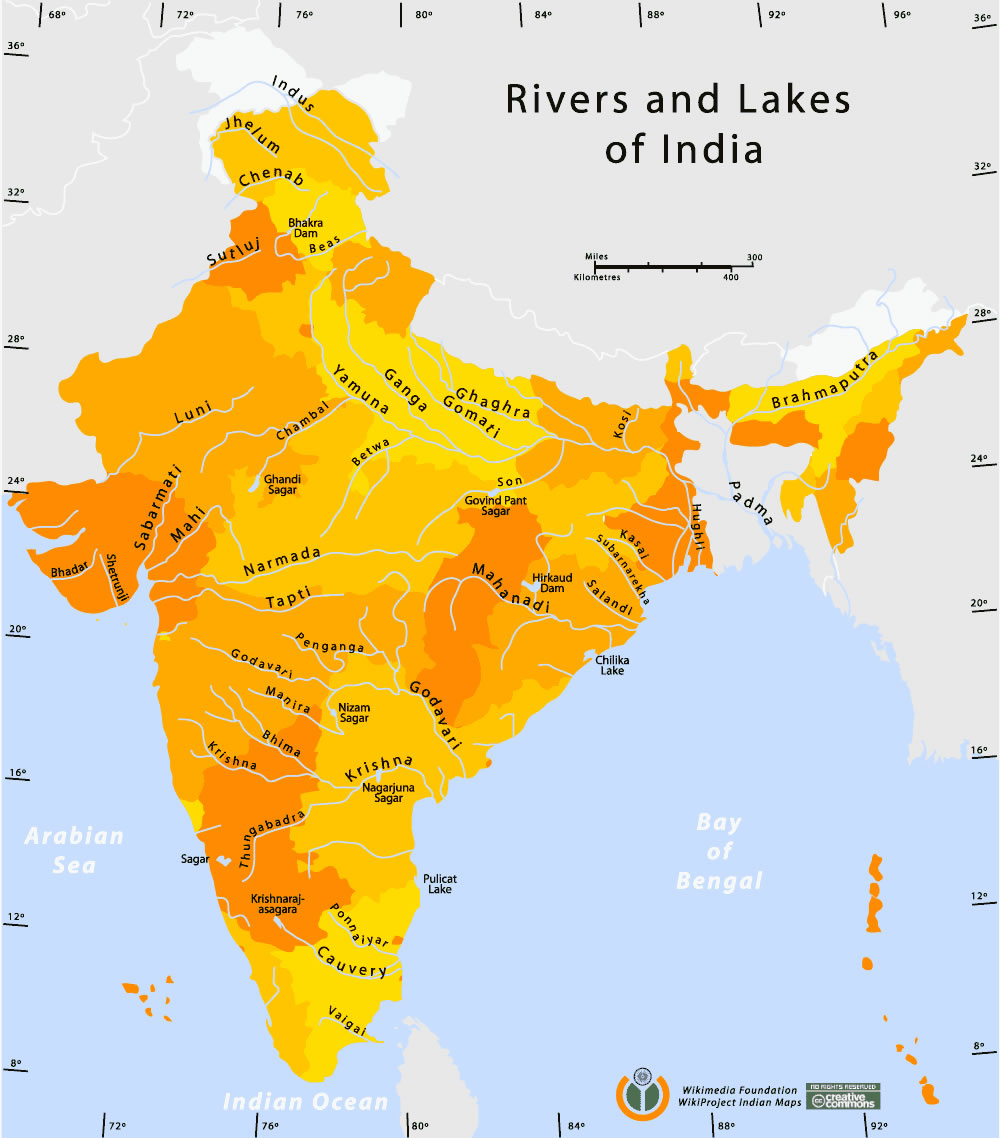 Rivers-and-lakes-india-map