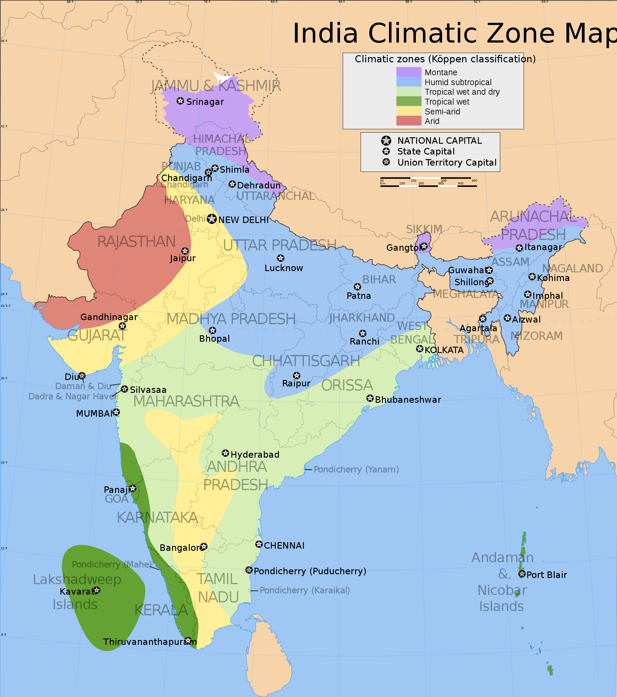 Rajasthan Carte Monde.India Climatic Zone Map Maps Of India
