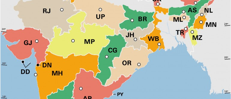 India states by rto codes map - Maps of India
