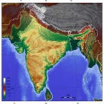India topographic blank map