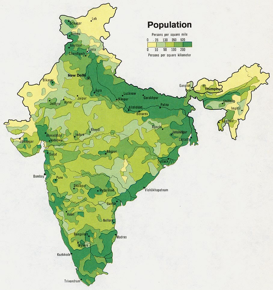 Population map of India 1973 Maps of India