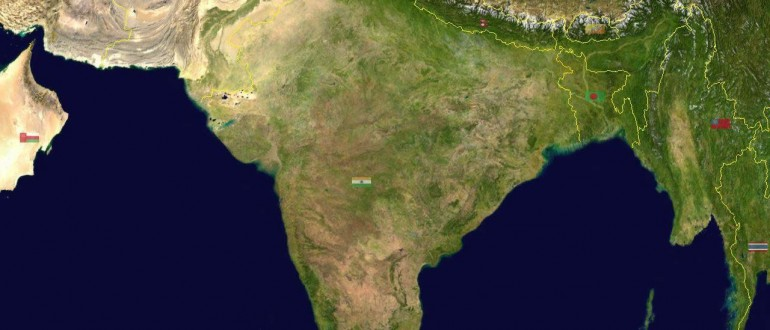 South asia india satellite map maps of india south asia india satellite map gumiabroncs Image collections