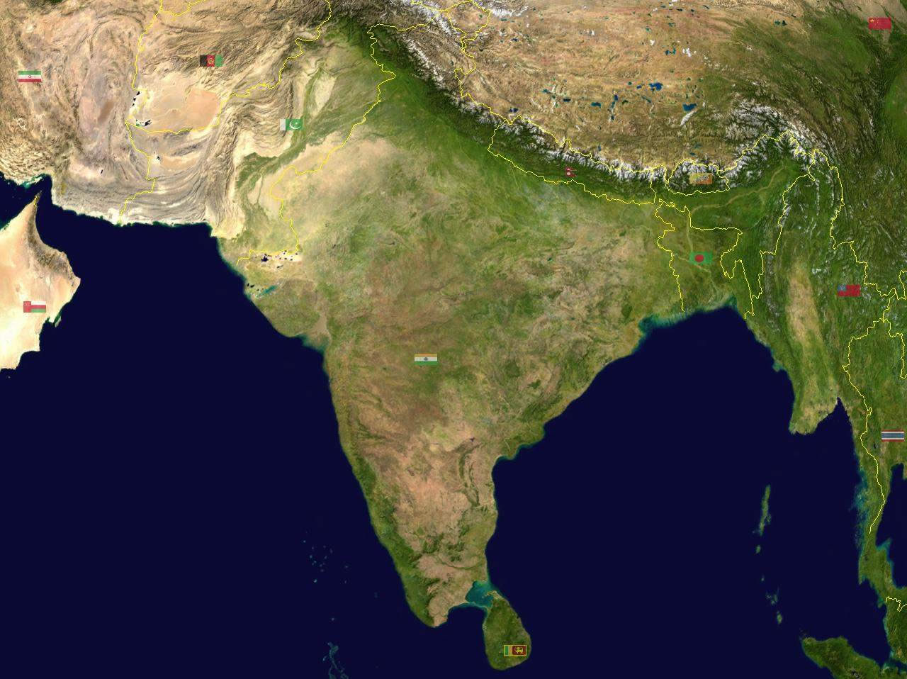 South asia india satellite map maps of india south asia india satellite map gumiabroncs Choice Image