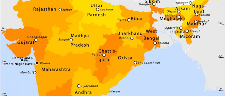 State and union territories India map   Maps of India